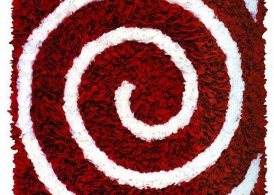 """Das Bild zeigt ein Bildobjekt mit Japanpapier namens """"Weiße Spirale in Rot""""."""