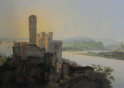 Eine Ansicht der Burg Stolzenfels zur Zeit des Umbaus.