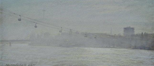 Dieses Pastell zeigt die Seilbahn über dem Rhein Richtung Koblenz.