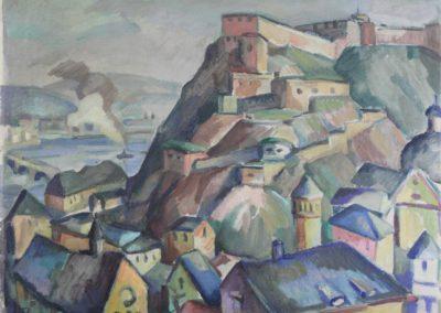 """Das Gemälde zeigt eine """"Ansicht von Ehrenbreitstein""""."""