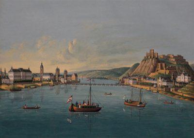 """Das Gemälde zeigt """"Koblenz und Ehrenbreitstein"""" um 1829."""