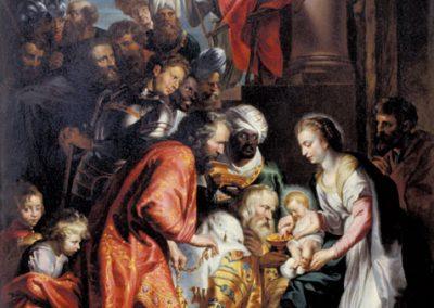 Das Bild zeigt die Anbetung des Jesuskindes durch die Könige.