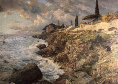 """Das Gemälde zeigt """"aufziehendes Gewitter über Korsika""""."""
