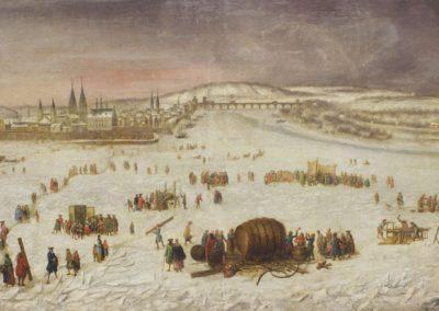 Das Bild zeigt ein Volksfest auf dem zugefrorenen Rhein bei Koblenz.