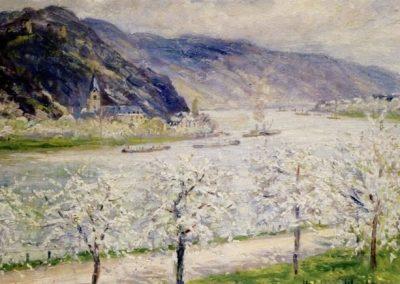 Das Gemälde zeigt frühlingshafte Bäume am Rhein.