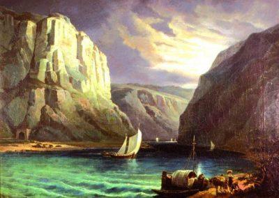 Dieses Ölgemälde auf Leinwand zeigt den Rhein mit Loreley und Schiff.