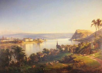 """Dieses Ölgemälde zeigt den """"Blick von Pfaffendorf auf Koblenz""""."""