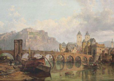 """Das Gemälde zeigt """"Koblenz und Ehrenbreitstein"""" um 1858."""