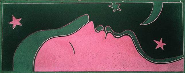 """Die Ritzung in Linoleum zeigt die """"Rose Lune""""."""