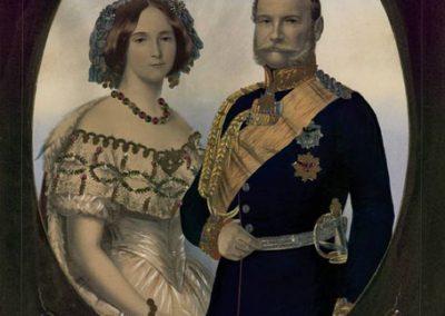 Die Lithographie zeigt das Königspaar Wilhelm und Augusta.
