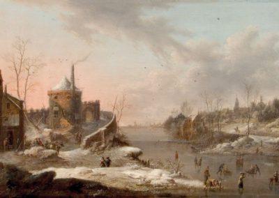 """Das Gemälde zeigt """"Holländische Flusslandschaft im Winter""""."""