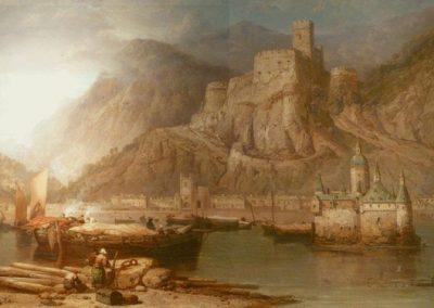 Dieses Gemälde zeigt eine Ansicht von Kaub aus dem 19. Jahrhundert.