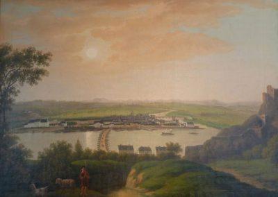 """Das Gemälde zeigt eine """"Ansicht von Koblenz"""" um 1836."""